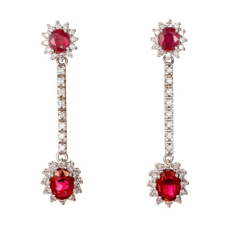 3.20 Carat Oval Ruby White Diamond Hinged Gold Dangle Earrings