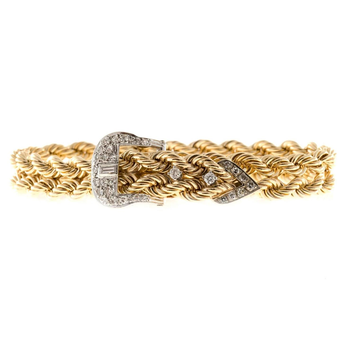 two row yellow white gold solid rope bracelet at