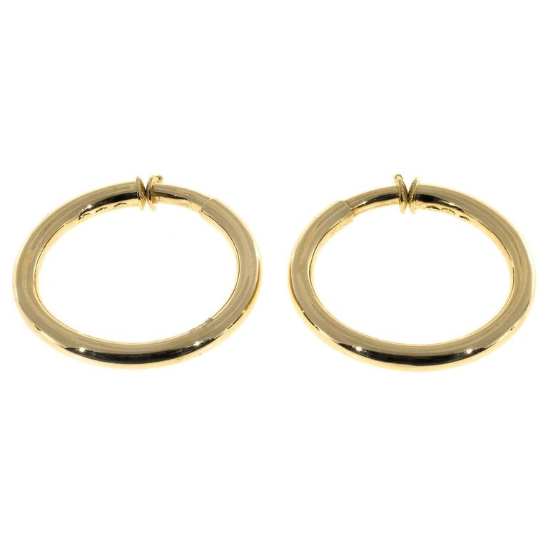 18k Yellow Gold Spring Loaded Non Pierced Hoop Earrings Comfortable And Secure On The Ear