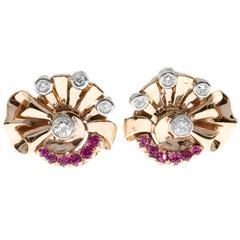 Retro Deco Pink Sapphire Diamond Rose Gold Clip Post Earrings