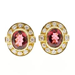 Oval Pink Tourmaline Diamond Gold Earrings