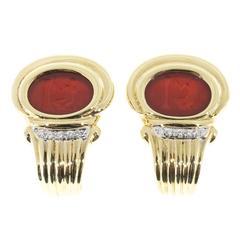 Italian Carved Carnelian Diamond Gold Clip Post Earrings