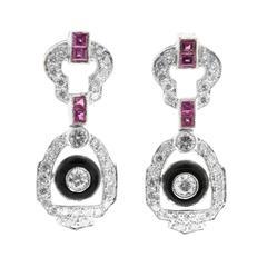 Ruby Onyx Diamond White Gold Hinged Dangle Earrings