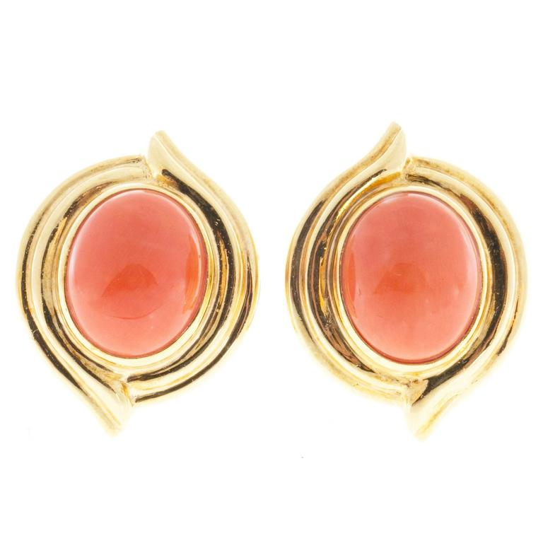 Red Orange Oval Coral Gold Earrings For Sale
