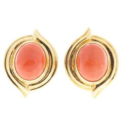 Red Orange Oval Coral Gold Earrings