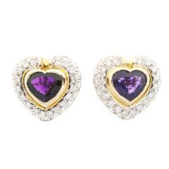 Heart Shaped Amethyst Diamond Gold Clip Post Earrings