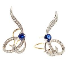 1950s Blue Sapphire Diamond Gold Platinum Swirl Clip Post Earrings