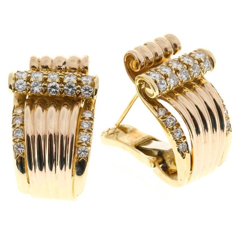 Diamond Gold Clip Post Swirl Earrings