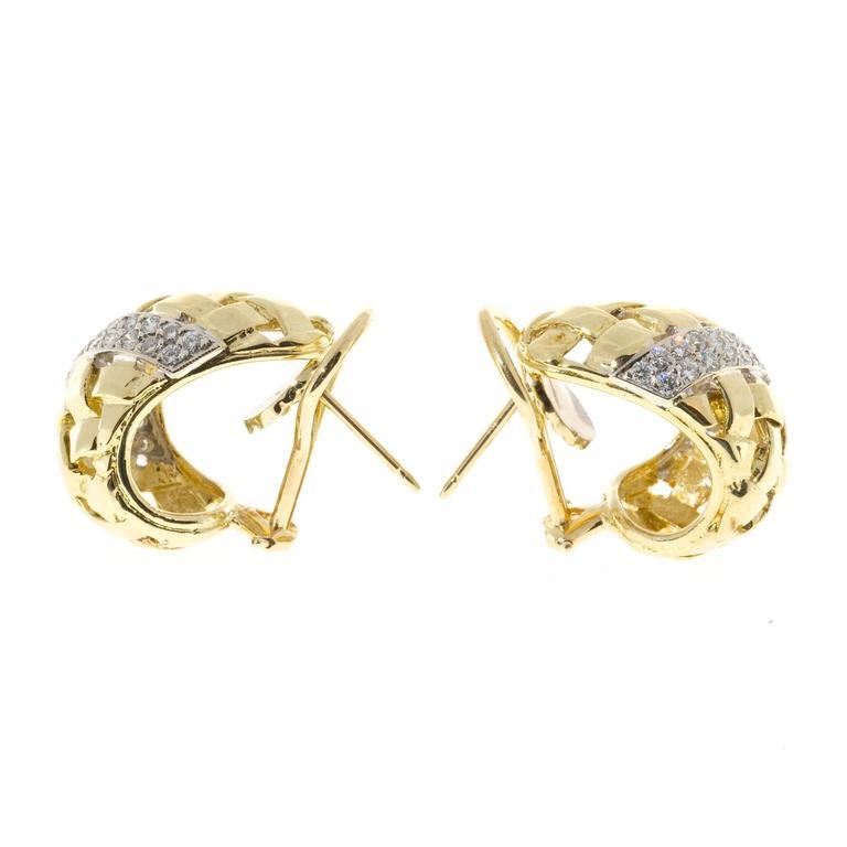 Basket Weave Diamond Gold Earrings For 1
