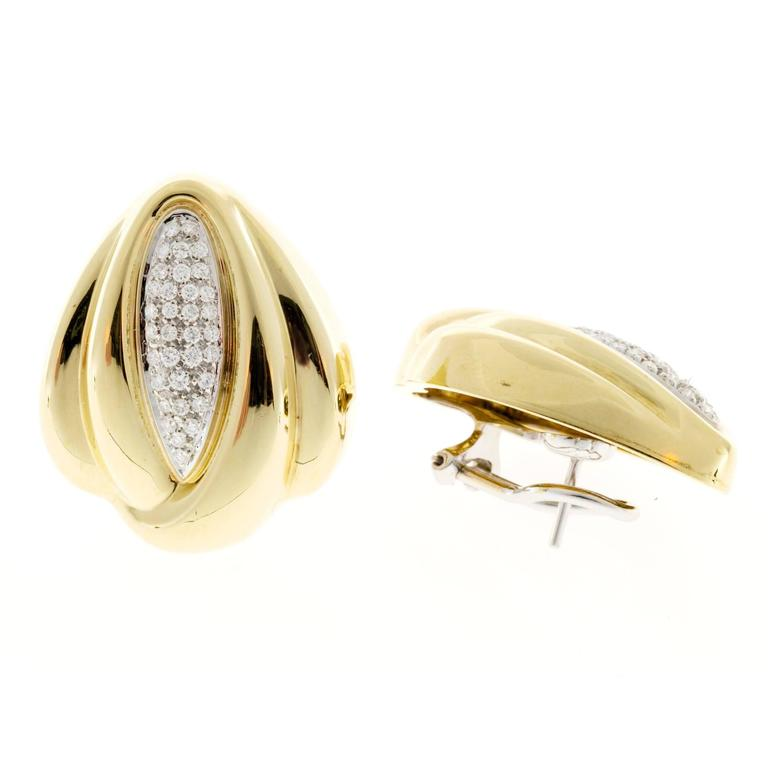 Italian Diamond Gold Swirl Clip Post Earrings For Sale At 1stdibs