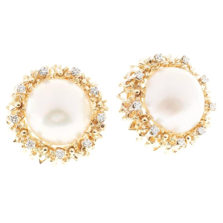 Mabe Pearl Diamond Gold Clip Post Earrings