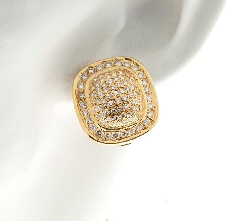 Diamond Gold Cushion Shaped Clip Post Dome Earrings For Sale 4