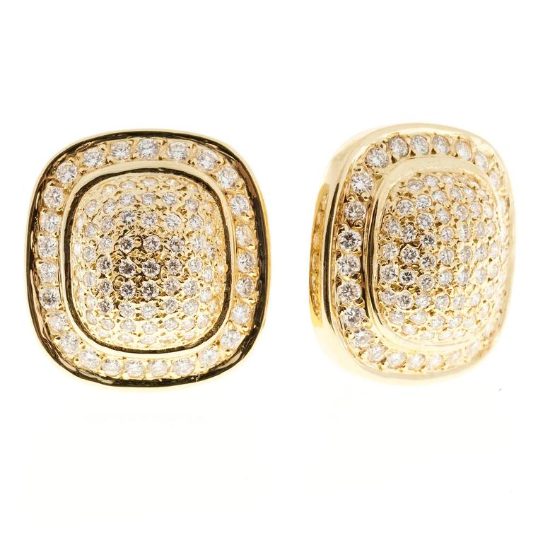 Domed cushion shaped 2.50ct clip post 14k yellow gold classic earrings.   150 full cut diamonds approx. total weight 2.50cts, G-H, Vs-SI 14k Yellow Gold Stamped: 14k 23.6 grams Height at 1 inch or 22mm Width: 7/8 inch or 21mm Depth: 9mm