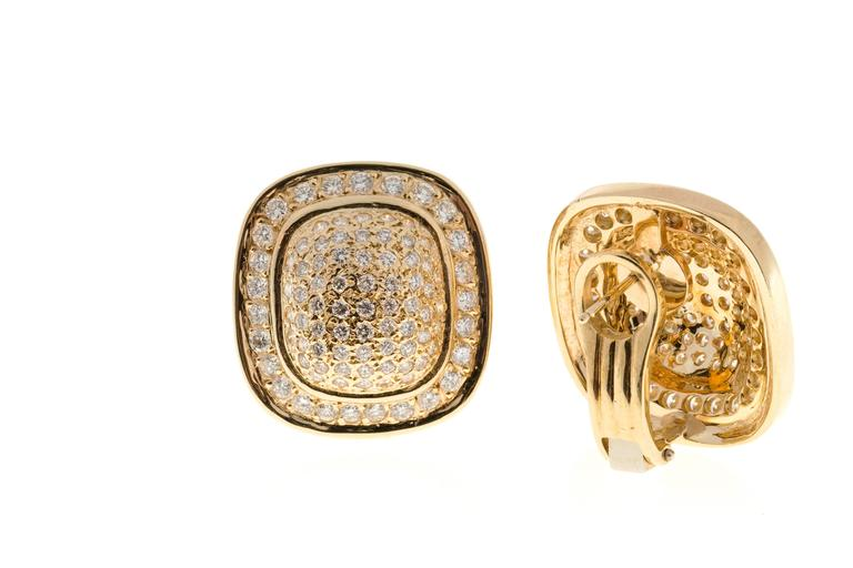 Diamond Gold Cushion Shaped Clip Post Dome Earrings 5