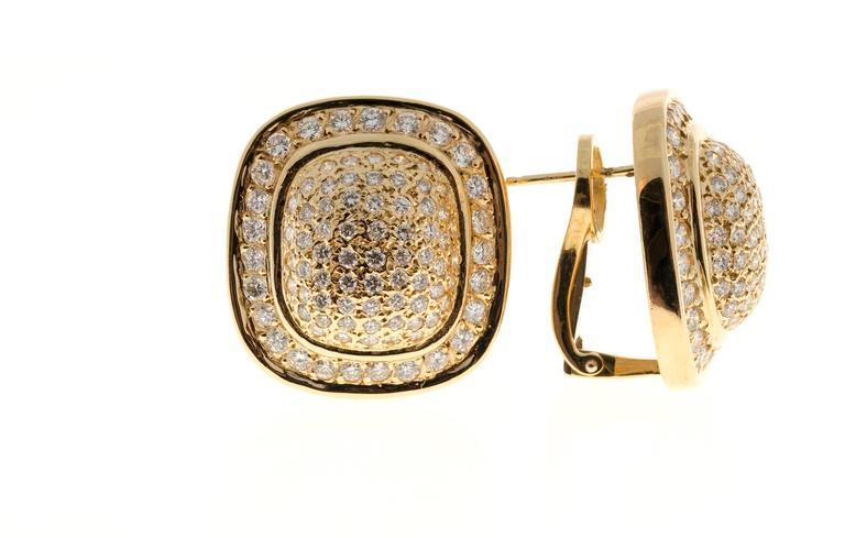 Diamond Gold Cushion Shaped Clip Post Dome Earrings 4