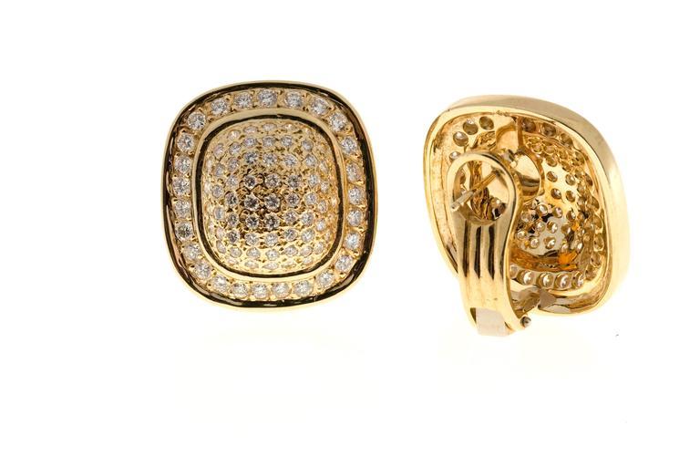 Diamond Gold Cushion Shaped Clip Post Dome Earrings 6