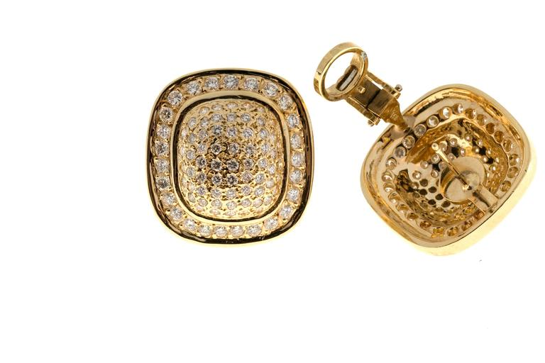 Diamond Gold Cushion Shaped Clip Post Dome Earrings For Sale 3