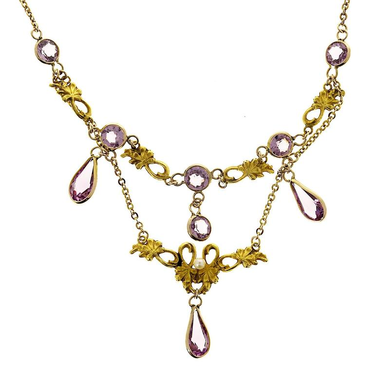 Victorian Pearl and Round Amethyst Gold Pendant Necklace For Sale