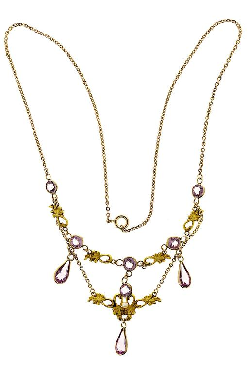 Women's Pearl and Round Amethyst Gold Pendant Necklace For Sale