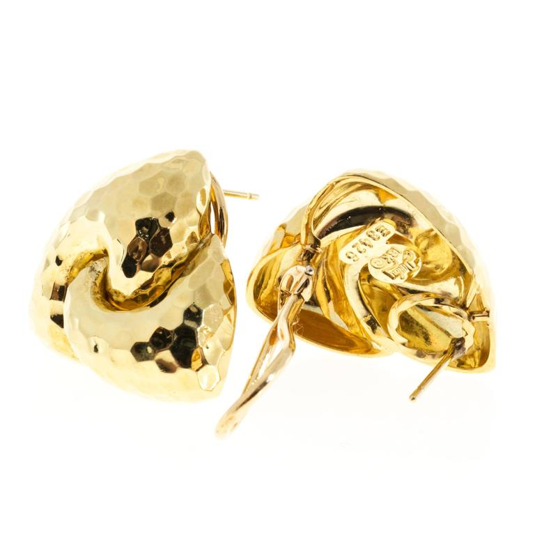 Henry Dunay Hammered Gold Clip Post Earrings In Good Condition For Sale In Stamford, CT
