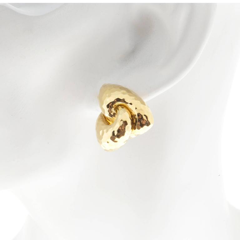 Women's Henry Dunay Hammered Gold Clip Post Earrings For Sale