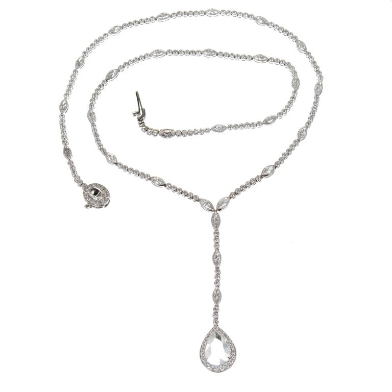 Diamond Platinum Milgrain Bead Set Necklace For Sale