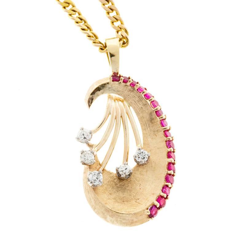 Ruby Diamond Florentine Gold Pendant Necklace