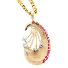 Ruby Diamond Florentine Gold Pendant Necklace