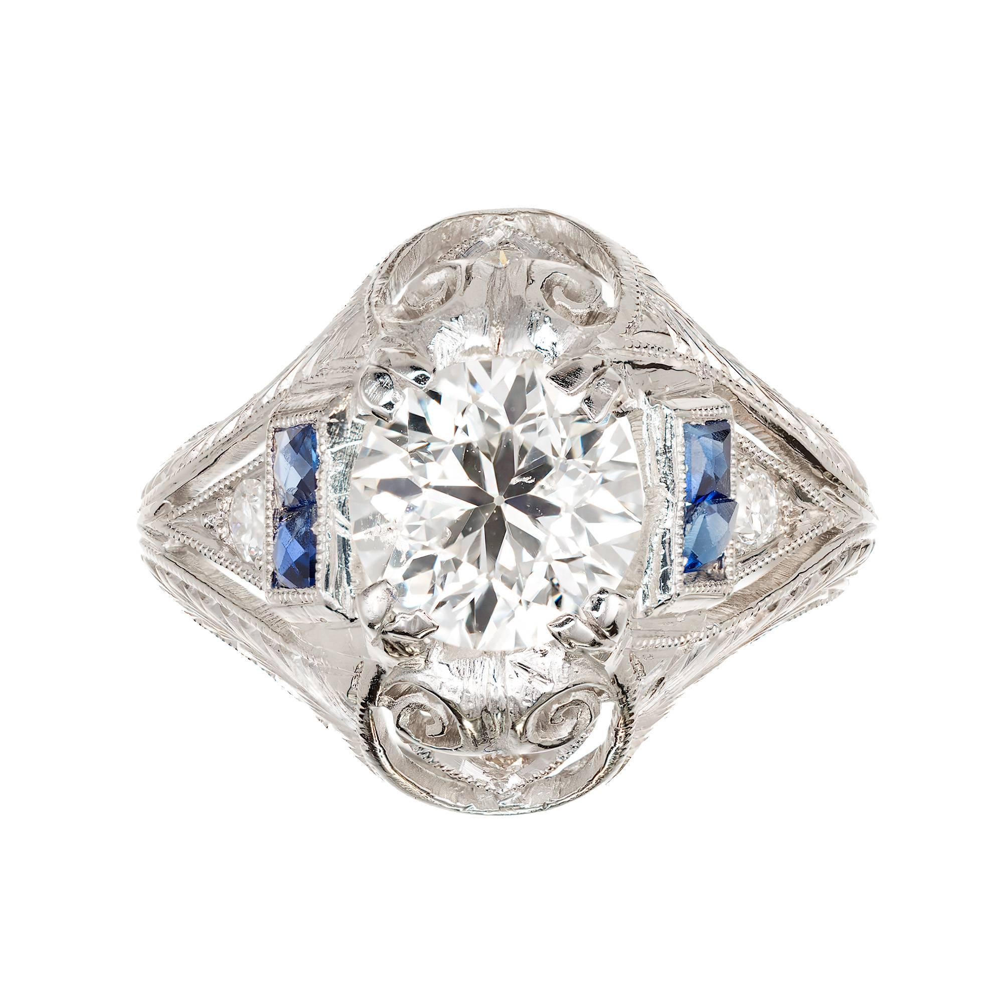 EGL Certified 1.31 Carat Diamond Sapphire Platinum Art Deco Engagement Ring