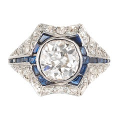 1.65 Carat Diamond Sapphire Gold Platinum Engagement Ring