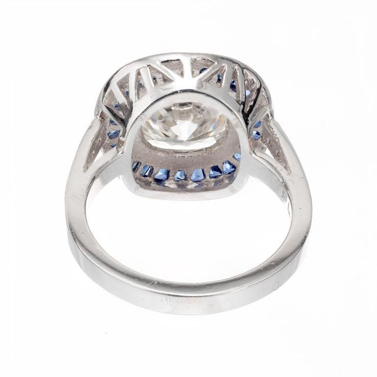 Sapphire Halo Diamond Platinum Engagement Ring For Sale At