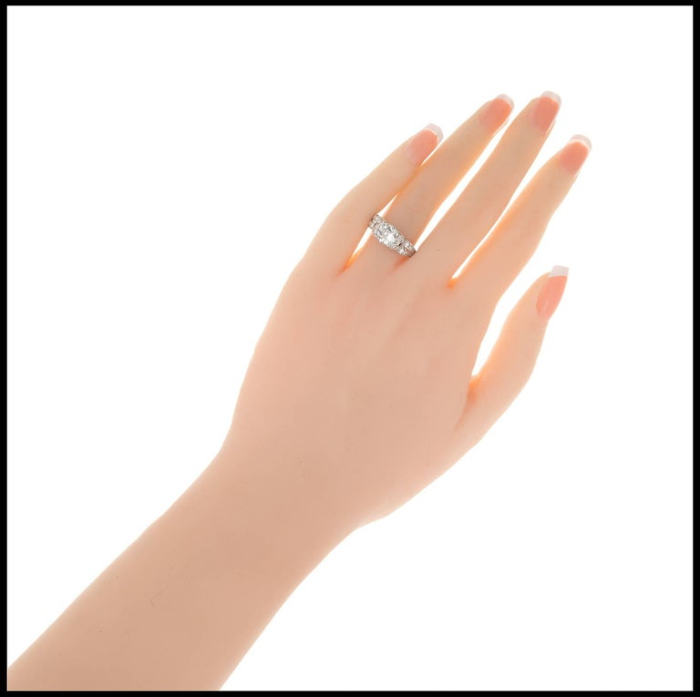 Women's 1.17 Carat Old European Cut Diamond Edwardian Platinum Engagement Ring For Sale