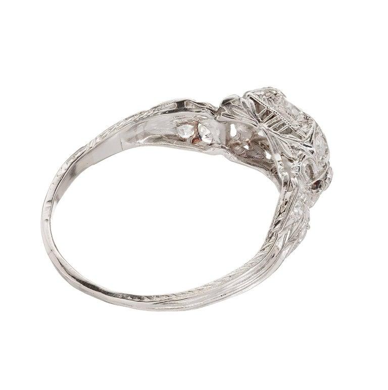 1.17 Carat Old European Cut Diamond Edwardian Platinum Engagement Ring For Sale 1