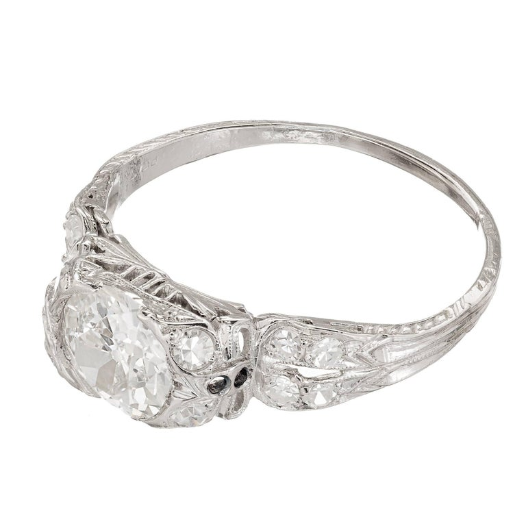 1.17 Carat Old European Cut Diamond Edwardian Platinum Engagement Ring In Good Condition For Sale In Stamford, CT
