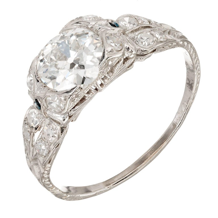 1.17 Carat Old European Cut Diamond Edwardian Platinum Engagement Ring For Sale