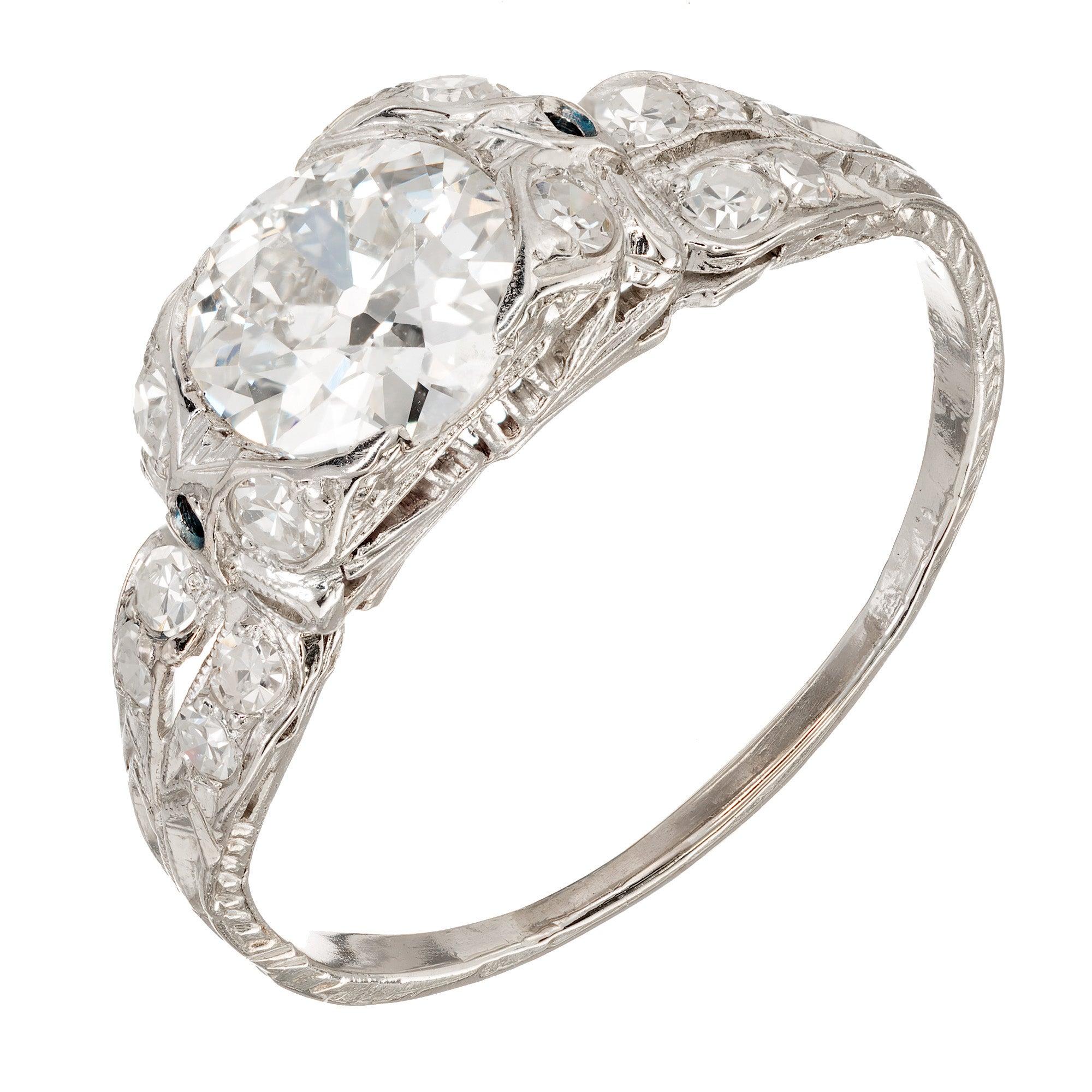 1.17 Carat Old European Cut Diamond Edwardian Platinum Engagement Ring
