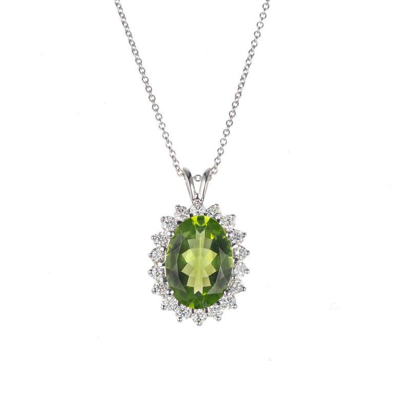 3.50 Carat Oval Peridot Diamond Halo Gold Pendant Necklace