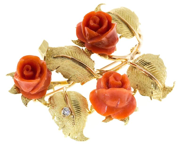Carved Coral Diamond Rose Textured Gold Flower Brooch  2