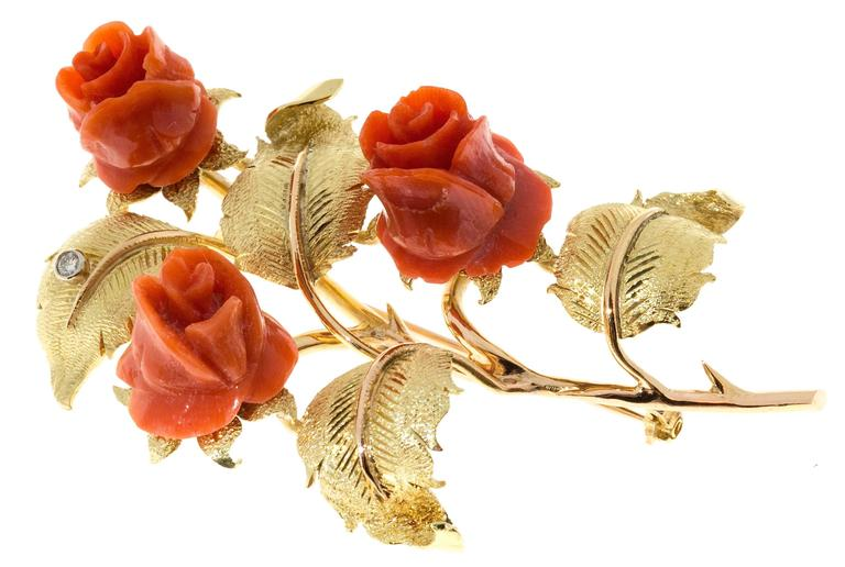 Carved Coral Diamond Rose Textured Gold Flower Brooch  3