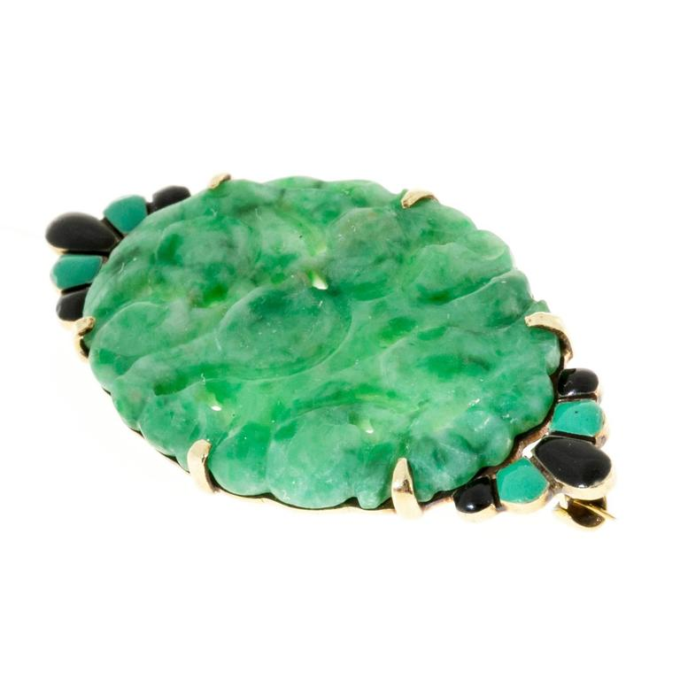 Original 1940 Art Deco pin with black and green enamel and natural green Jadeite Jade.