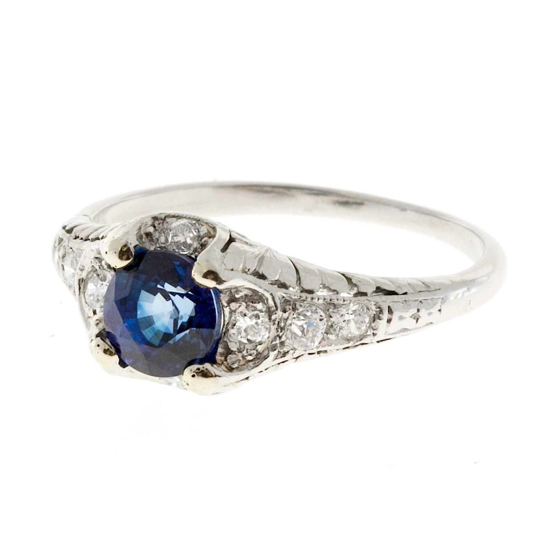 sapphire pierced engraved platinum engagement ring