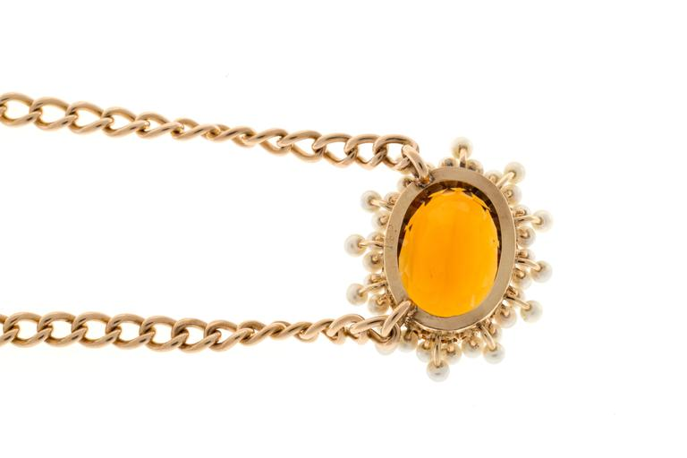 Citrine Pearl Gold Pendant Necklace  For Sale 2