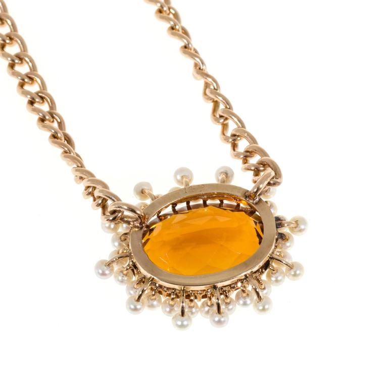 Citrine Pearl Gold Pendant Necklace  For Sale 3