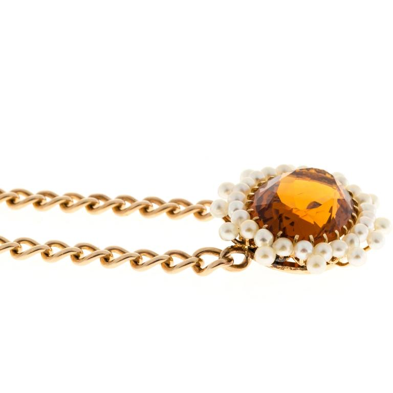 Citrine Pearl Gold Pendant Necklace  For Sale 1