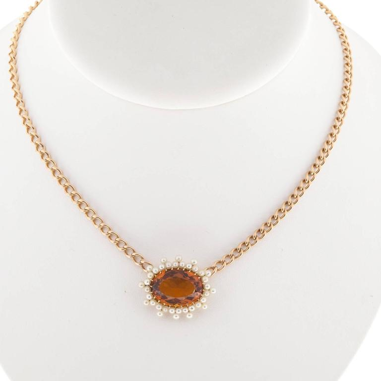 Women's Citrine Pearl Gold Pendant Necklace  For Sale
