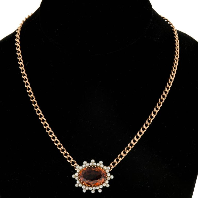 Citrine Pearl Gold Pendant Necklace  In Good Condition For Sale In Stamford, CT