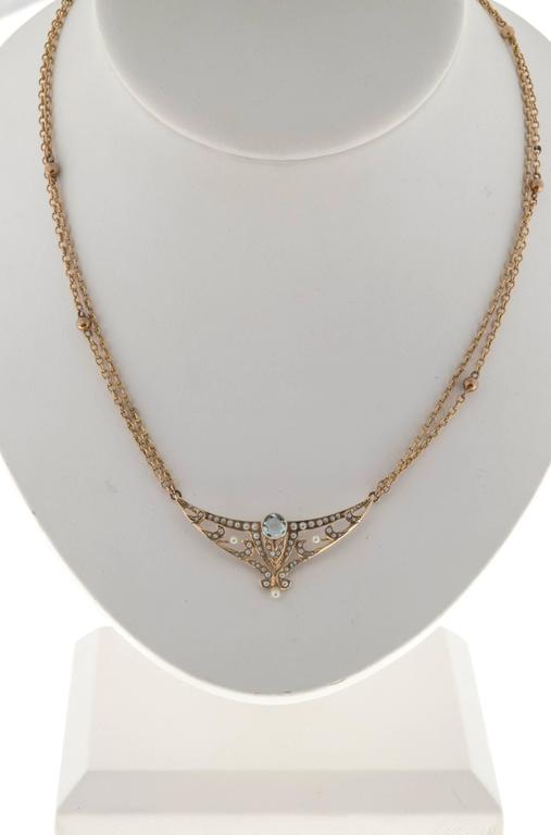 Aquamarine Pearl Gold double chain Pendant Necklace For Sale 1