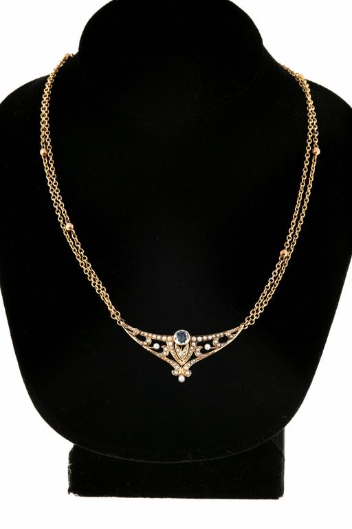 Aquamarine Pearl Gold double chain Pendant Necklace For Sale 2