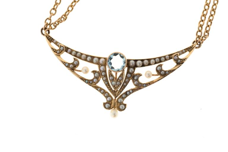 Women's Aquamarine Pearl Gold double chain Pendant Necklace For Sale
