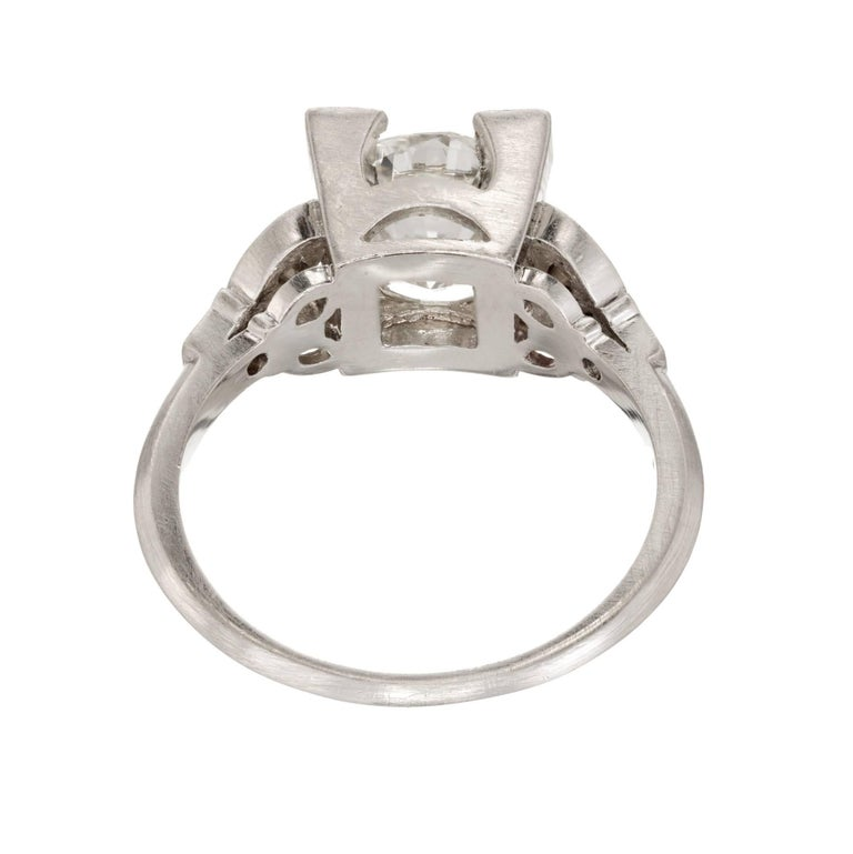 2.33 Carat Diamond Transitional Cut Art Deco Platinum Engagement Ring 5